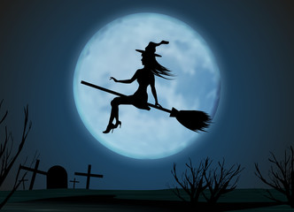 Halloween background. Young witch flying on a broomstick on the background of a full moon above cemetery. Vector illustration.