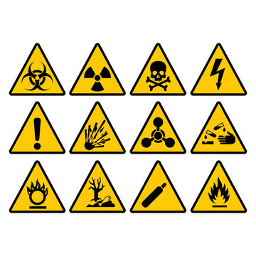 Warning yellow triangle sign set. Warning and hazard triangular vector signs.