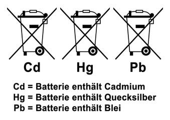ks405 kombi-schild - Elektro- und Batteriegesetz (BattG) - Cd: Batterie enthält Cadmium / Hg: Batterie enthält Quecksilber / Pb: Batterie enthält Blei - DIN A2 A3 A4 - poster xxl g6555
