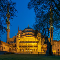 Sultan Ahmed Mosque (Blue Mosque) at night, an Ottoman imperial mosque located in Sultan Ahmed Square, Istanbul, Turkey
