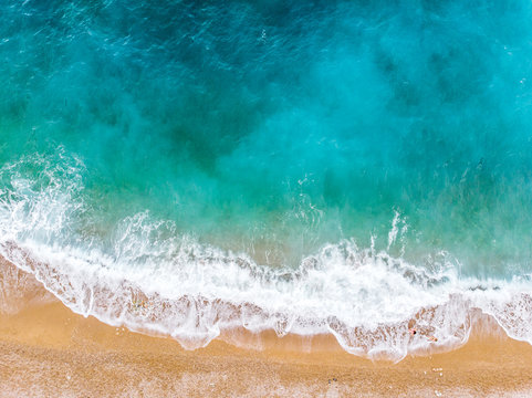 sea ​​waves view from the drone. Spain 2018, august