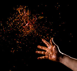 Foto op Canvas Kruiden Cayenne pepper powder explosion,Flying Cayenne pepper,Motion blur