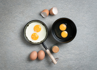 Aluminium Prints Egg Fried eggs in a frying pan,top view