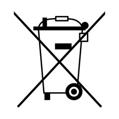 gz163 GrafikZeichnung - Symbol: Durchgestrichene Abfalltonne auf Rädern / Elektro- und Elektronikgerätegesetz (ElektroG) - Elektroaltgeräte mit Batterien oder Akkus dürfen nicht in den Hausmüll g6556