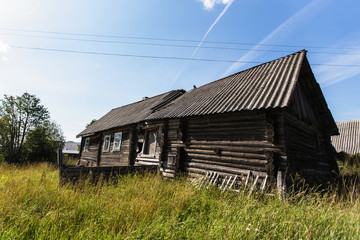 Abandoned wooden house in a russian village.