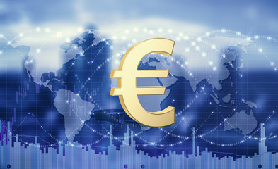 Euro currency as a global means of payment.3d illustration