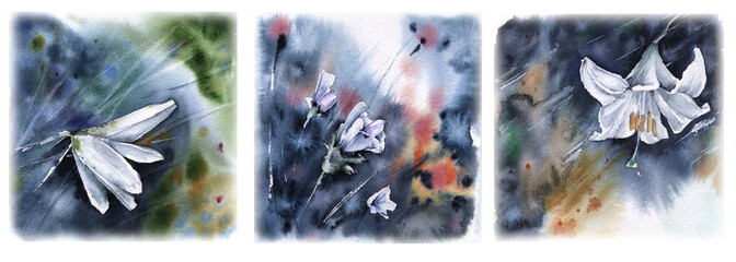 Set of greeting cards with flowersWatercolor illustration.