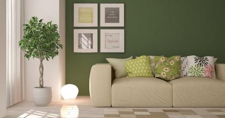 Idea of green minimalist room with sofa. Scandinavian interior design. 3D illustration