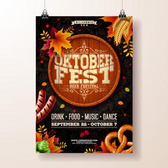Oktoberfest poster vector illustration with beer barrel, pretzel, sausage and falling autumn leaves on dark doodle pattern background. Celebration flyer template for traditional German beer festival.