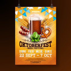 Oktoberfest party poster illustration with fresh dark beer, pretzel, sausage and blue and white party flag on shiny yellow background. Vector celebration flyer template for traditional German beer