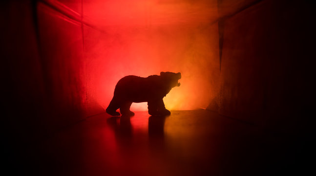 Horror view of big bear in abandoned corridor. The silhouette of a bear in foggy dark toned background