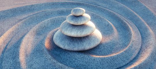 Wall Mural - Zen - Steinturm im Sand mit Wellen