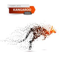 Kangaroo dot illustration onthe white background. Vector eps 10