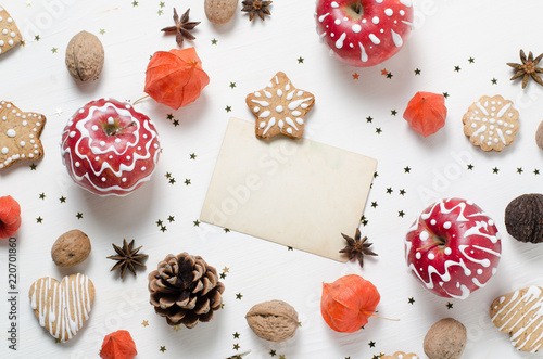 homemade gingerbread cookies painted apple trendy christmas new year template with vintage