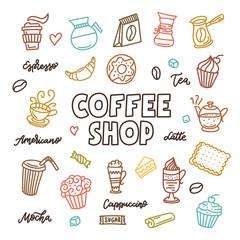 Coffee shop doodle art elements set. Vector vintage illustration.