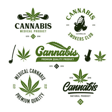 Cannabis marijuana labels emblems badges set. Vector vintage illustration.