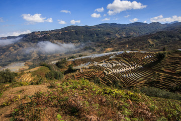 Irrigated Rice Terrace Fields in Yuanyang County - Yunnan Province, China. Water filled terraces, reflecting and absorbing the blue color of the sky. Bada Village scenic area terraces, sea of clouds