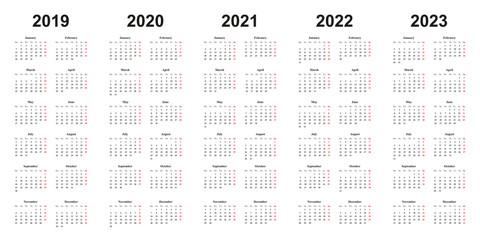 Kalender 2019, 2020, 2021, 2022, 2023, einfaches Design, weißer Hintergrund,