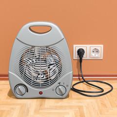 Fan heater in interior, 3D rendering