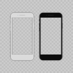 Realistic smartphone. Flat cartoon design, vector illustration on background.