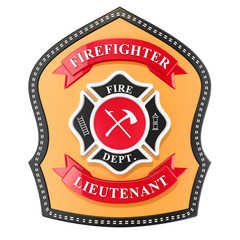 Firefighter Badge, emblem. 3D rendering