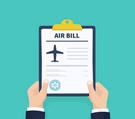 Wall Mural - Man hold Air bill. Holding the clipboard. Paperwork, sheets in folder. Vector illustration.