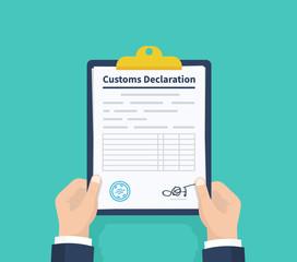 Man hold Declaration. Checklist Holding the clipboard. Paperwork, sheets in folder. Vector illustration.