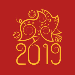 Chinese new year pig 2019 golden line on red background. Design chinese traditional zodiac  art decoration