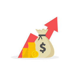 Income increase strategy, Financial high return on investment, fund raising, revenue growth, interest rate, loan installment, credit money, budget balance. Flat design.