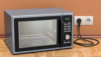 Modern Microwave in interior, 3D rendering