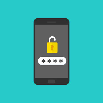 Smartphone with unlocked password bubble notification, phone screen with open lock and password field.