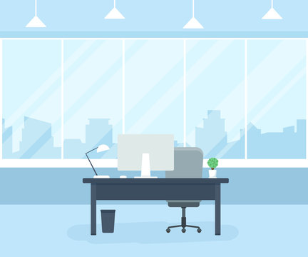 Office workplace with table, computer, window and lamp. Coworking office. Flat vector illustration.