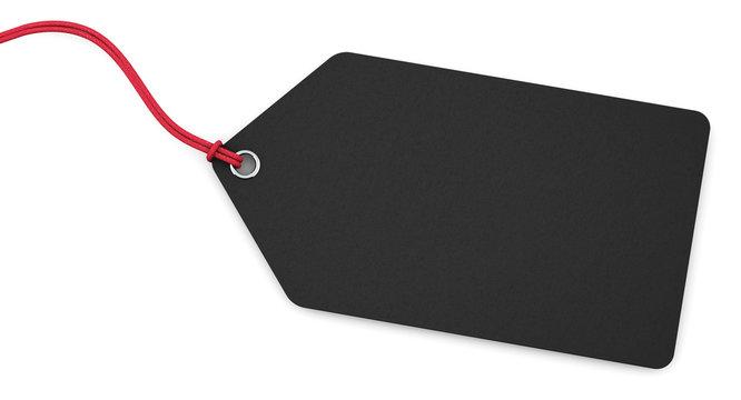 Anhänge-Etikett - schwarz mit roter Schnur
