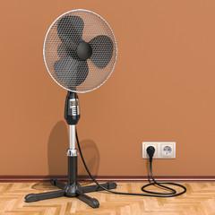 Standing pedestal electric fan in interior, 3D rendering