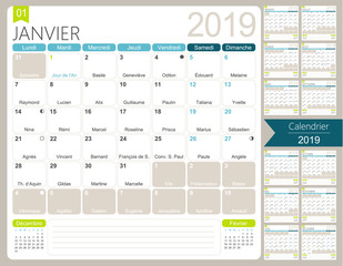French planning calendar for year 2019, set of 12 months January - December, French printable monthly calendar template, including name days, lunar phases and official holidays, vector illustration