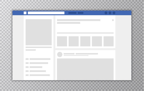 Browser window with Web page. Concept of Social Media Interface template. User Comments. Vector illustration.