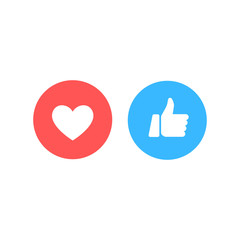 Wall Mural - Thumbs up and heart icon on a white background. Empathetic Emoji Reactions, printed on paper. Vector social media Illustration icon.