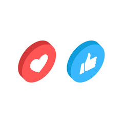 Wall Mural - Thumbs up and heart icon isometric on a white background. Empathetic Emoji Reactions, printed on paper. Vector social media Illustration icon.