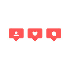 Wall Mural - Social network rating icons: thumbs up icon, heart symbol, New follower set. Flat design. Vector social media Illustration icon.