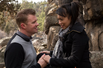 Excited White Man Proposing to a Beautiful Filipino Woman