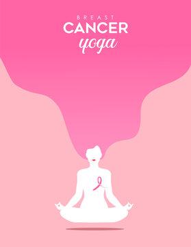 Breast Cancer Awareness woman yoga in lotus pose