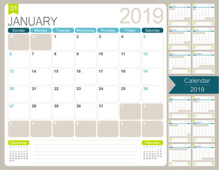 English calendar 2019 / English calendar planner for year 2019, week starts on Sunday, set of 12 months January - December, simple calendar template, desk planning calendar, vector illustration