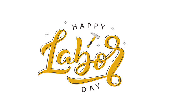 Vector realistic isolated typography logo for Labor Day in USA with thin line art design for decoration and covering on the white background. Concept of Happy Labour Day.