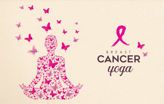Breast Cancer Awareness pink butterfly yoga design