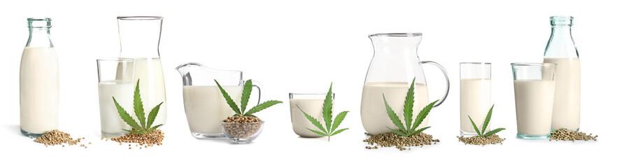 Set with non-dairy vegan hemp milk on white background