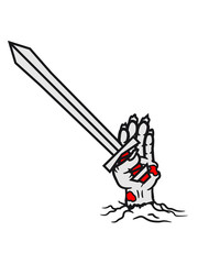 kämpfer ritter schwert boden grab auferstehen hand arm abgetrennt zombie tot gestorben biohazard infektion apokalypse comic cartoon clipart untoter wandelnde leiche horror halloween