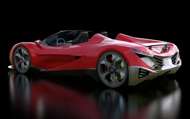Red conceptual sports cabriolet for driving around the city and racing track on a black background. 3d rendering.