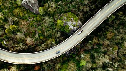 Linn Cove Bridge Blue Ridge Parkway Asheville North Carolina – Beautiful high resolution drone photo of historical Linn Cove Viaduct Bridge