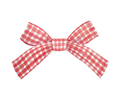 Red and white checkered gingham ribbon bow watercolour illustration. Nice festive classic decoration for holiday cards, design, party packages. Hand drawn water color paint, cutout clipart element.