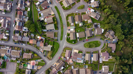 Top down aerial view of urban houses and streets in a residential area of a Welsh town Wall mural